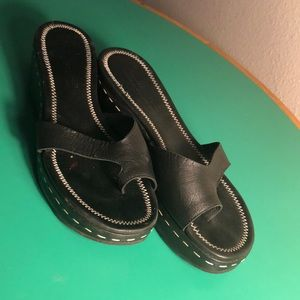 Donald J. Plunger Black Leather Platform Sandal 10